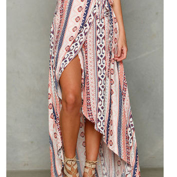Pink Ethnic Wrap Around Maxi Skirt