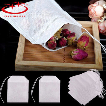 High quality 100Pcs/Lot  5.9 x 8cm Tea Bag String Heal Seal Filter Paper Teabag For Herb Loose Tea  Strainers Infusers