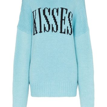 "Powder Blue ""Kisses"" Oversized Knit Sweater by Amiri"