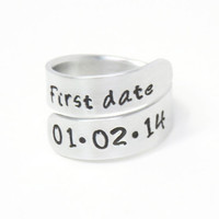 First date ring - Couple ring - anniversary gift - Girlfriend ring boyfriend ring - Stamped ring - Girlfriend gift anniversary ring