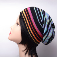 Cotton knit hat colorful slouchy beanie teen hat knitted beanie black cotton beanie gift women summer hat knit beanie