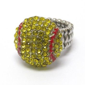 "Crystal ""Bling"" Rhinestone Softball Ring"