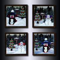 Snowman  and Penguin Christmas Coasters