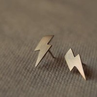 Lightning Bolt Stud Earrings by TheAngryWeather on Etsy