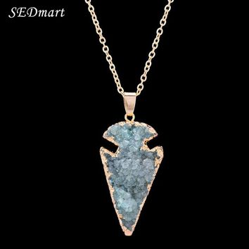 SEDmart Fashion Arrowhead Druzy Quartz  Necklace Gold Color Cluster Raw Natural Stone Drusy Pendant Necklace For Women