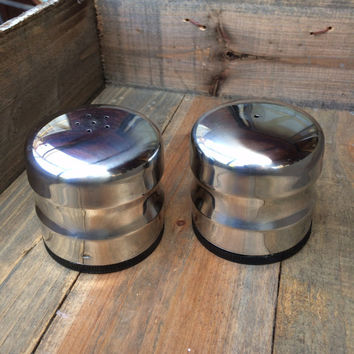 Mid Century Modern Stainless Steel Shakers, Salt and Pepper Shakers Industrial Chic Steampunk