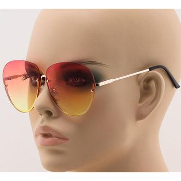 Elite Semi-Rimless OVERSIZE Aviator Style Metal Frame Oceanic Lens Sunglasses