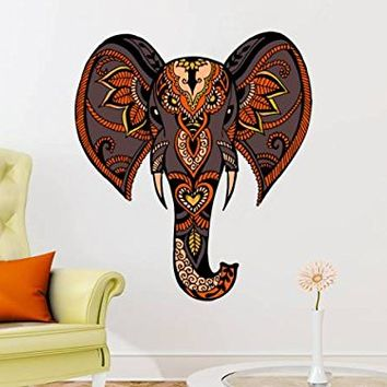 Wall Decals Elephant Full Color Ganesha Animals Colorful Vinyl Decal Boho Style Stickers Bohemian Bedroom Yoga Studio Home Decor EN13 (22x26)