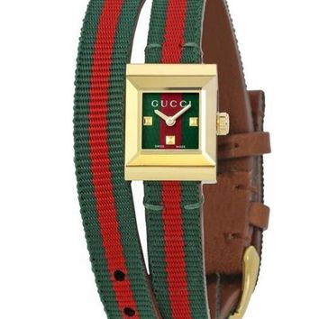 GUCCI Trending Unisex Delicate Red Green Stripe Canvas Spiral Wound Square Quartz Watch Wrist Watch