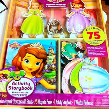 Disney Sofia the First Magnetic Dress-up Dolls with Wooden Playhouse Castle 75pcs