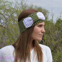 Hand knit bow ear warmer headband, Bow headband, knitted bow earwarmers, winter wrap, slip on, olive, white