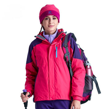 Winter Women 3 in 1 Hiking Jackets Girls Outdoor Sport Waterproof Thermal Two-piece Coats For Travelling Skiing Hiking S-XXXL