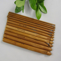 "New 12pcs 6"" Bamboo Handle Crochet Hook Knit Craft Knitting Needle Weave Yarn 3-10mm = 1958044804"