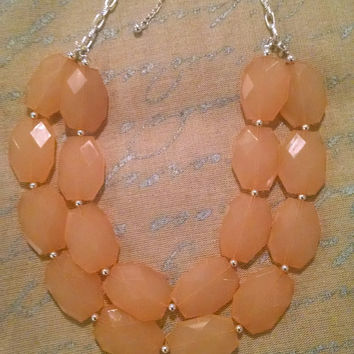 Coral Double Strand Statement Necklace, Coral Necklace, Bridesmaid Necklace, Chunky Necklace, Peach Statement Necklace