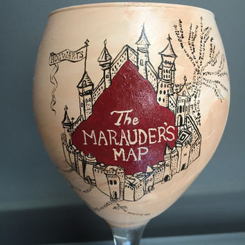 """Harry Potter """"Marauder's Map"""" Hand Painted Wine glass and custom made wooden box hand painted with Hogwarts crest"""