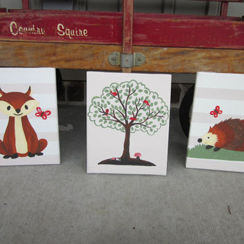 Woodland Forest Hand Painted Paintings Set Wall Decor Art for Nursery, Kids Room - You customize!  (Fox, Hedgehog, Tree)