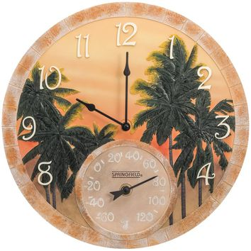 """Springfield 14"""" Poly Resin Clock With Thermometer (coconut Bay)"""
