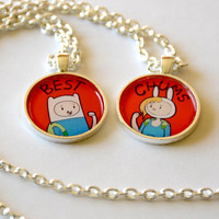 Adventure Time Finn and Jake / Fionna and Cake Friendship Necklace