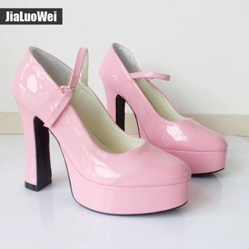 """jialuowei Sexy Fetish 4"""" Chunky heel with 1.5"""" platform Halloween Black Mary Jane Dolly Baby  Pump by Demonia Gothic Shoes"""