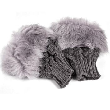 2017 NEW Lady Shaggy Faux Fur Knit Fluffy Hands Boot Covers Gloves -Dark gray