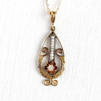 White Sapphire Lavalier - Antique Edwardian 14k Rosy Yellow Gold Pendant Necklace - Circa 1910s Genuine Gem Filigree Seed Pearl Fine Jewelry
