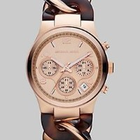 Michael Kors Runway Rose Gold-tone Tortoise Twist Chain Link Ladies Watch MK4269: Watches: Amazon.com