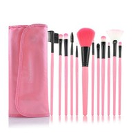 Roll up Case Cosmetic Brushes Kit 12/15 PCS Cosmetic Brush Set with Pouch Pro Wooden Handle Makeup Brush Tool (12pcs pink)
