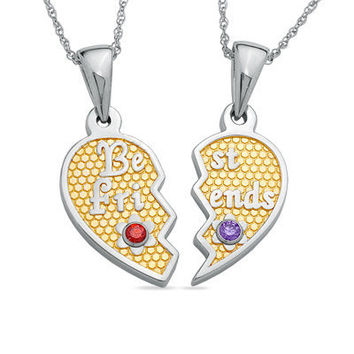 Best Friends Heart Birthstone Pendants in Sterling by NaomisCo2