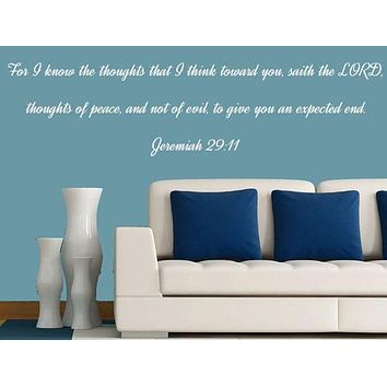 Jeremiah 29:11 Vinyl Wall Art, Bedroom Wall Decal, Custom Vinyl Decals