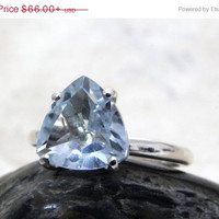 CYBER MONDAY SALE - Silver trillion ring,blue topaz ring,gemstone ring,semiprecious ring,natural stone ring,bridal ring