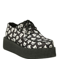 T.U.K. Black Cat Print Mondo Creepers