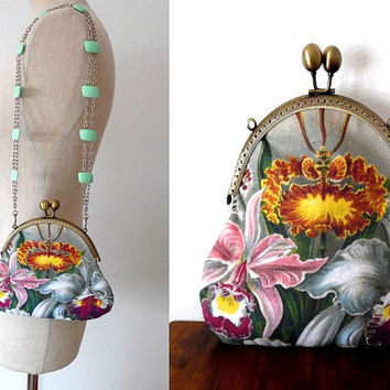 Botanical colourful summer bag / floral / orange / pink / purple / cream / lined / bronze / silver / metal / pastil green / lucite clasp bag