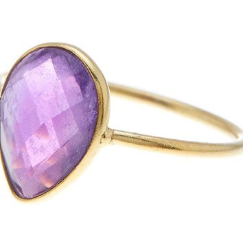Amethyst 18K Gold Plated Sterling Silver Wholesale Gemstone Fashion Jewelry Pear Cut Ring