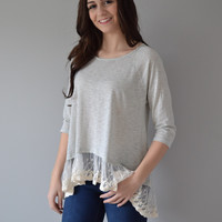 Knit Top with Lace Trim Detail