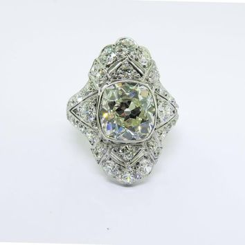 Art Deco 4.60 Carat Diamond Platinum Ring