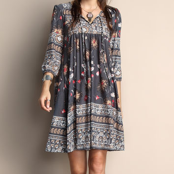 Reborn Collection Gray Floral Tie-Front Tunic Dress - Plus | zulily