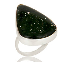 Handmade Sterling Silver Ocean Jasper Gemstone Bezel Set Statement Ring