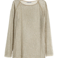 H&M - Sheer Sequined Top - Gray - Ladies