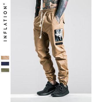 INFLATION Men Joggers Pants Denim Overalls Men Ankle-Tied New Biker Homme Ink-jet Prinitng Men Jopgger Pants