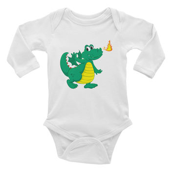 Green Baby Dragon Infant long sleeve one-piece
