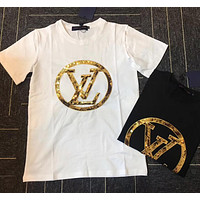 LV men and women Sequined embroidered T-shirt