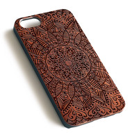 Mandala Floral Natural wood handmade precise laser engraved iPhone 7 6 6S Plus wood case WA070
