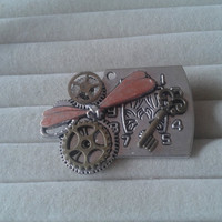 Closing sale - Steampunk  dragonfly with gears and clock  brooch  pin