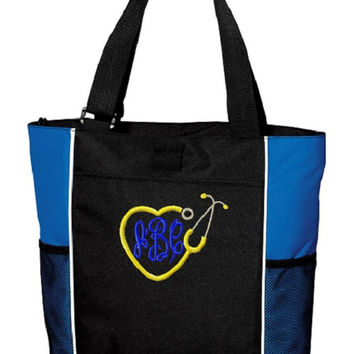 Nurse Heart Stethoscope Monogrammed Tote Bag. Monogrammed Nursing School Book Bag. Registered Nurse Bag, Co-Worker Gift, Graduation Gift