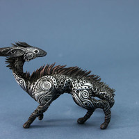 Dragon Dog Skulpture Fantasy Figurine Fantasy Animals Art Wolves Guargian Spirit Amulet