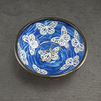 ceramic ring bowl, ceramic prep bowl, blue stoneware bowl, butterfly bowl