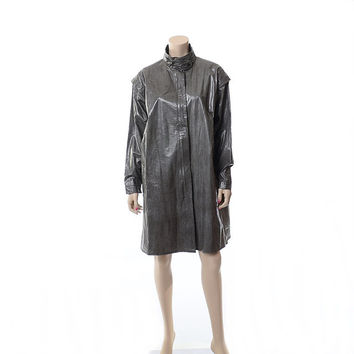 Vintage 80s Members Only Raincoat 1980s Charcoal Gray Trench Coat Batwing Sleeves Vinyl Slicker Rain Jacket / One Size