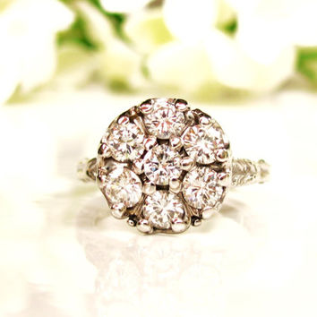 Vintage Daisy Diamond Engagement Ring 1.05ctw Diamond Cluster Ring 14K White Gold Filigree Diamond Wedding Ring Adjustable Band Size 6!