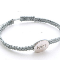 Silver Grey Knotted HOPE Bracelet Charm Bracelet Men's Bracelet Mens Jewelry