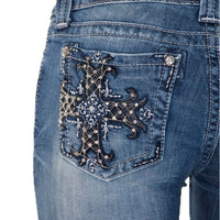 Miss Me Black Leather Cross Bootcut Jeans